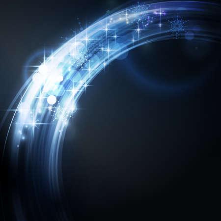 effetti di luce: Sovrastante di segmenti di cerchio con effetti di luce e le stelle formano un astratto blu bordo incandescente rotonda su sfondo blu scuro con un spumante di qualit� che lo rende perfetto per le feste di Natale