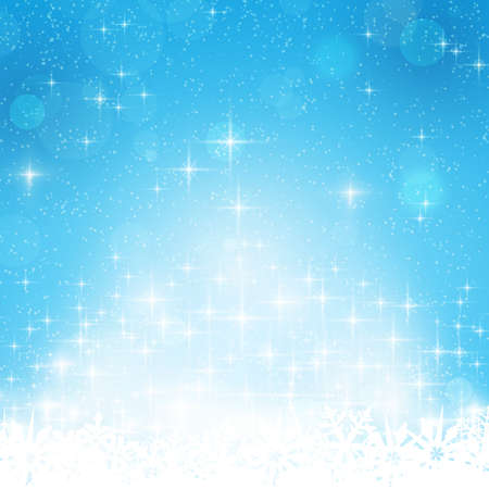 Abstract blue festive background with out of focus light dots, stars and snowflakes. Great for the festive season of Christmas or any winter theme. Illustration