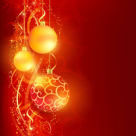Border with red and golden Christmas balls hanging over a red, golden wavy pattern with stars and snow flakes on a dark red background. Bright, vivid and festive for the Christmas season to come. Çizim