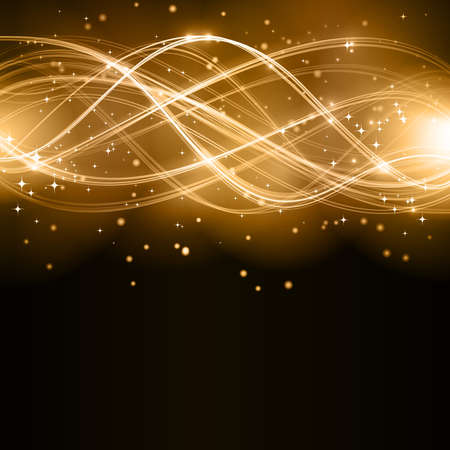 overlaying: Overlaying golden wavy lines forming an abstract pattern with light effects on a dark background. With stars and space for your copy.