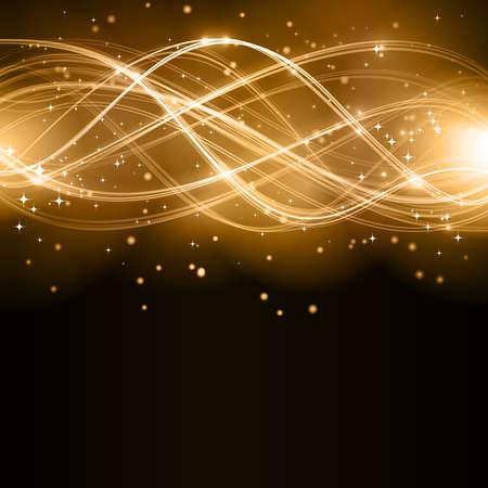 effets lumiere: Superposition d'or de lignes ondul�es formant un motif abstrait avec des effets de lumi�re sur un fond sombre. Avec les �toiles et l'espace pour votre copie. Illustration