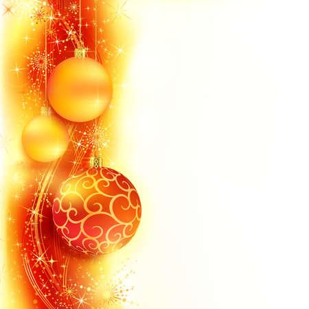 星と雪フレーク濃い赤の背景に赤、黄金波状パターンの上にぶら下がってクリスマス ボールを赤と金色のボーダーします。明るい、鮮やかな、来る