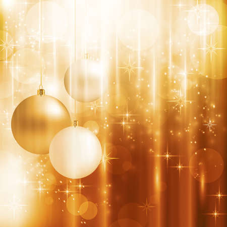 Light effects, blurry light dots, stars and Christmas balls on a warm golden background for your Christmas design.