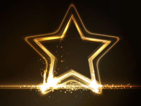 overlying: Overlying semitransparent stars with light effects form a golden glowing star frame on dark brown background. Space for your message.