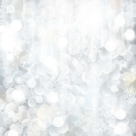 Bright and festive silver background with snow flakes, stars and bokeh lights. Beautiful template for Christmas and winter cards. Illustration