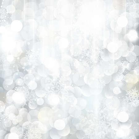 snow flakes: Heldere en feestelijke zilveren achtergrond met sneeuwvlokken, sterren en bokeh lichten. Mooie sjabloon voor Kerst en winter kaarten. Stock Illustratie