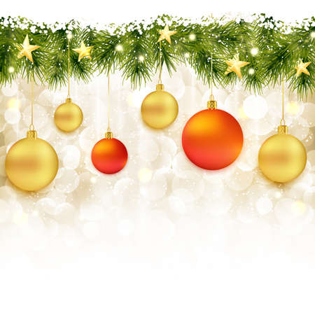 Red and golden Christmas balls hanging from a border of fir twigs with light dots and golden stars on a soft golden background with blurry lights and snowfall. Vector