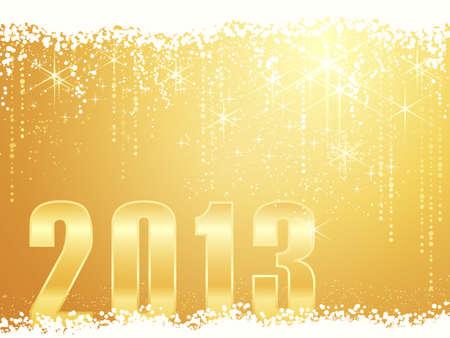 お祝いの黄金輝くクリスマス新しい年の雪、光沢がある星、数 2013年背景します。