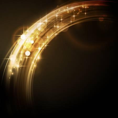 effetti di luce: Sovrastante di segmenti di cerchio con effetti di luce e le stelle formano un bordo luminoso astratto d'oro rotonda su sfondo scuro con un spumante di qualit� che lo rende perfetto per le feste di Natale