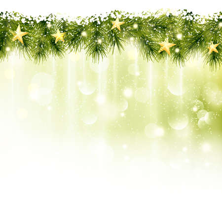 Golden stars in a border of fir twigs on a soft golden green background with blurry lights, light effects and snowfall. Festive and wintry, great background for any Christmas or winter theme. Vector