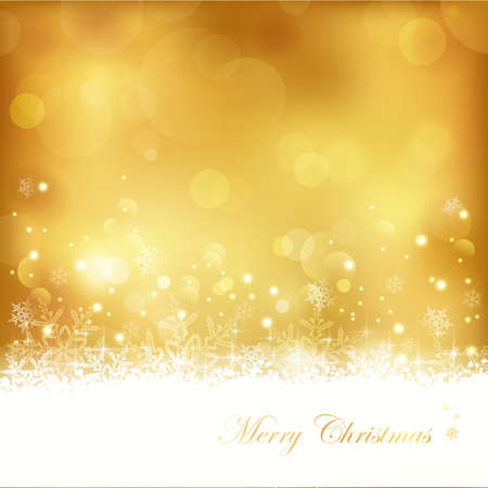 Festive gold background with out of focus light dots, stars,snowflakes and copy space. Great for the festive season of Christmas to come or any other golden aniversary occasion. Vector