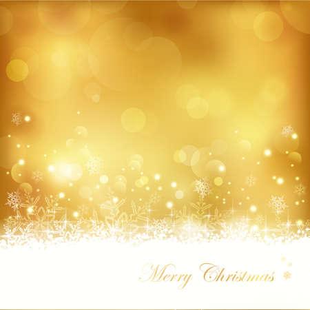 dorato: Gold background festiva con fuori fuoco puntini di luce, stelle, fiocchi di neve e lo spazio della copia. Grande per le feste di Natale a venire o qualsiasi altra occasione d'oro anniversario.