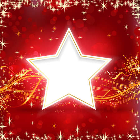 Christmas background with stars, snow flakes and wavy lines on redbackground with blurred light dots for your festive occasions. Vector