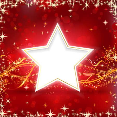 Kerst achtergrond met sterren, sneeuwvlokken en golvende lijnen op redbackground met wazig licht puntjes voor uw feestelijke gelegenheden. Stock Illustratie