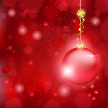 Blurry lights on dark red background and a red bauble hanging with a golden bow. Great backdrop for Christmas themes. Space for your text. Vector