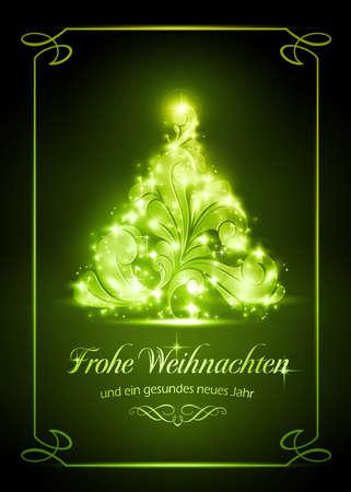 Warmly sparkling Christmas tree on dark green background Stock Illustratie