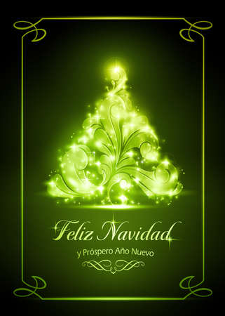 Warmly sparkling Christmas tree on dark green background