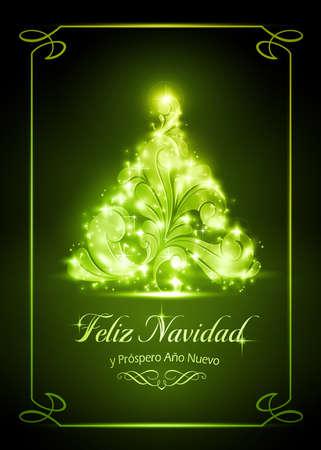 Acoge brillante árbol de Navidad sobre fondo verde oscuro Ilustración de vector