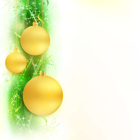 gold christmas background: Border with golden Christmas balls hanging over a green, golden wavy pattern with stars and snow flakes on a white background  Bright, vivid and festive for the Christmas  Illustration