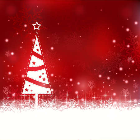 Snowflakes and blurry lights on dark red background with a minimalistic Christmas tree with star  Great backdrop for winter or Christmas themes  Space for your text Stock Vector - 16519315