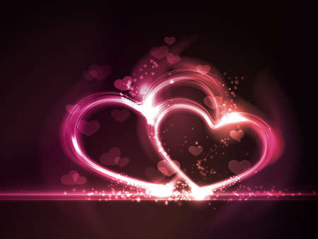 Overlying semitransparent heart shapes with light effects form glowing hearts frame in shades of pink, purple and red on dark red background  Contains gradient mesh elements