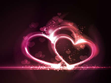 effetti di luce: Sovrastante forme di cuore semitrasparenti con effetti di luce incandescente cornice formare cuori nei toni del gradiente elementi rosa, viola e rosso su sfondo rosso scuro Contiene maglia