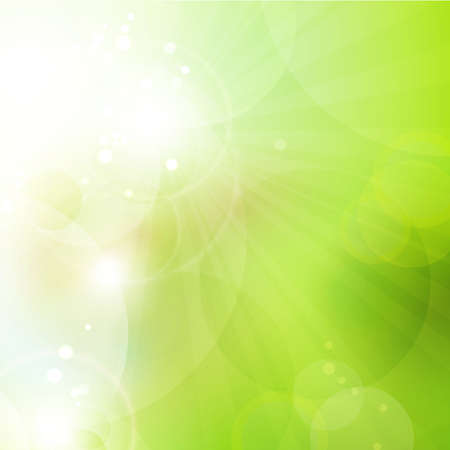 Abstract green blurry background with overlying semitransparent circles, light effects and sun burst  Great spring or green environmental background  Space for your text   Vettoriali