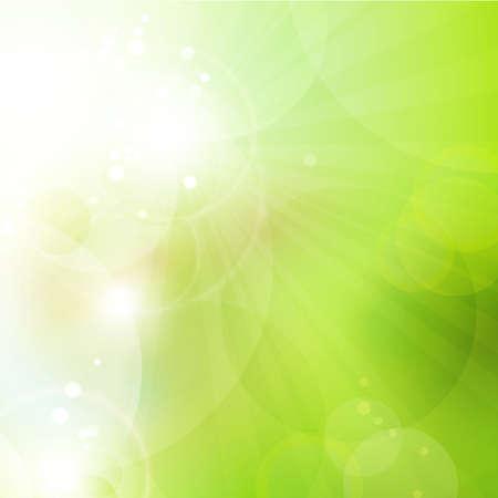 primavera: Resumen fondo verde borrosa con c�rculos superpuestos semitransparentes, efectos de luz y el sol irrumpi� primavera Grande o espacio verde de fondo ambiental para el texto Vectores