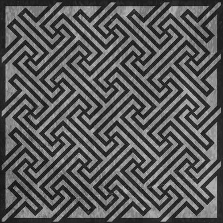 greying: Simple geometric shapes forming a Celtic key pattern on textured background.