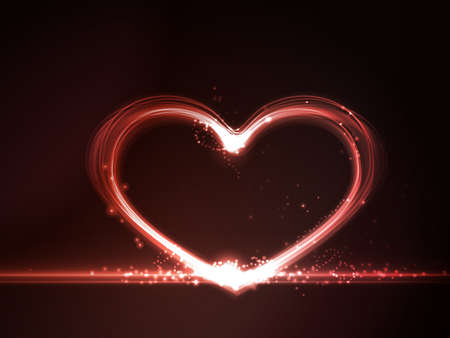 overlying: Overlying semitransparent heart shapes with light effects form a glowing frame in shades of red on a dark red background Copy space.