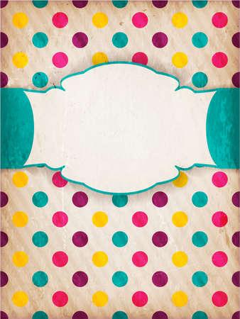 rallas: Invitación, tarjeta de aniversario con etiqueta para el texto personalizado de colores polka dot patrón de fondo, rayas débiles y los elementos del grunge para una sensación retro envejecida.