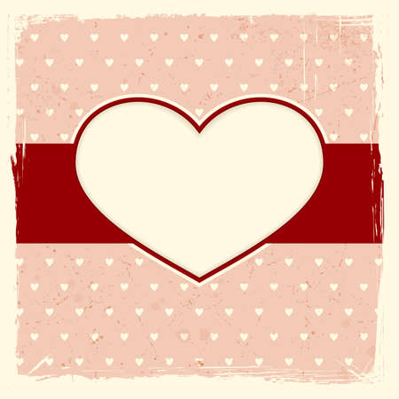 Frame with heart label on pale red distressed background with a background heart pattern.  Vector