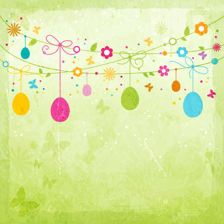 Hanging Easter eggs, flowers, butterflies and colorful dots on green textured background forming a happy, colorful border with space for your text Vector