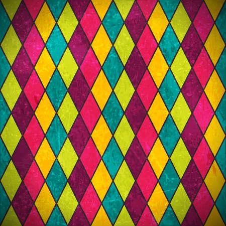 arlecchino: Disegno geometrico fatto di rombi in vari colori vivaci sovrapposti con elementi grunge e graffi per dare una sensazione di età e in difficoltà.