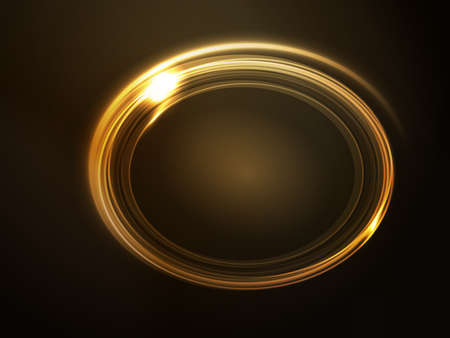 effetti di luce: Segnaposto ovale, cornice con effetti di luce nei toni di oro e giallo scuro su sfondo marrone.