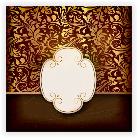 Invitation, anniversary card with label for your personalized text dark background with a delicate golden seamless floral pattern and grunge elements for an aged feeling. Stock Vector - 18407323