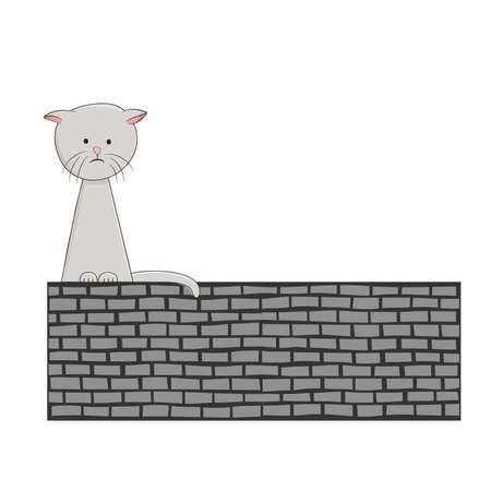 Cute sad kitten sitting alone on a brick wall. Vector