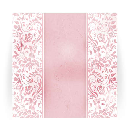 Invitation, anniversary card with space for your personalized text in shades of subtle off-white and pink with a delicate floral pattern and grunge elements.