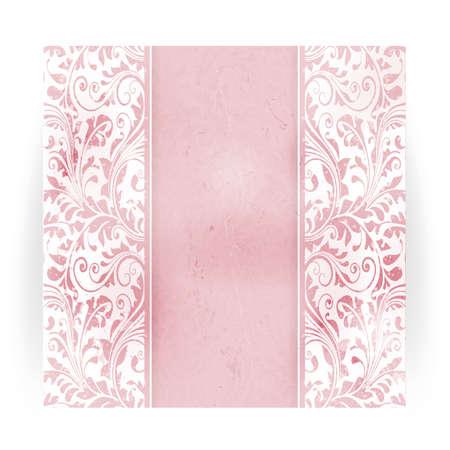 Invitation, carte d'anniversaire avec un espace pour votre texte personnalisé dans des tons subtils de hors-blanc et rose avec un motif floral délicat et des éléments de grunge. Vecteurs