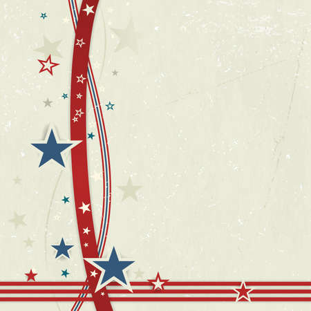 US American flag themed background, or card with wavy lines and stars in red and blue forming a patriotic border on a distressed, worn background.  Great for the 4th of July. Vector