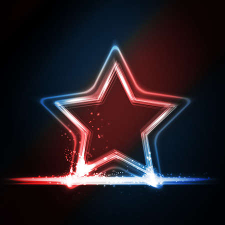 Star frame background with light effects on dark background in shades of red, white and blue. Great background for Independence day or any other patriotic theme in USA, GB, France, etc. Stock Vector - 19060612