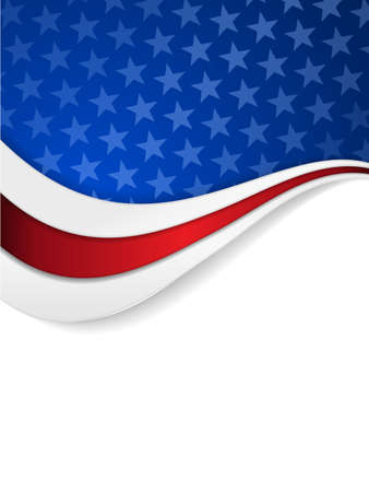Abstract background with wavy pattern and space for your text.Stars on dark blue background with wavy stripes in red and white make it a great backdrop for USA themes, like Independent Day, etc. Stock Illustratie