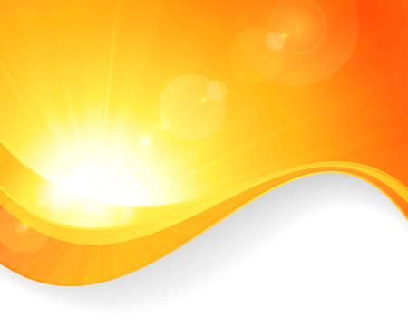 Zomer achtergrond met een prachtige vector zon barsten van lens flare en golvende lijnen patroon in heldere oranje en gele kleuren.
