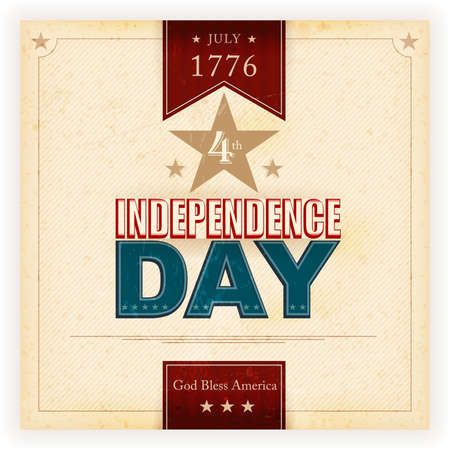 Vintage style Independence Day poster with the wording: July 1776 4th, Independence Day, God Bless America. Grunge elements and stains give it an aged and worn feeling. Illustration