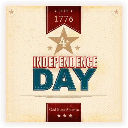 juli: Vintage stijl Independence Day poster met de tekst: juli 1776 4, Independence Day, God Bless America. Grunge elementen en vlekken geven het een oude en versleten gevoel.