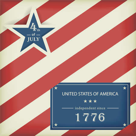 Red white diagonally striped background with big blue star with the wording: 4th of July and a blue label with the wording: United Stated of America independent since 1776.