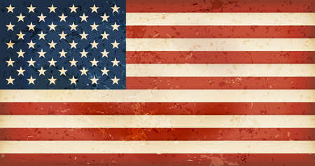 Vintage style flag of the United States of America. Grunge Elements give it an used and dirty feeling. Hoist (width) / Fly (length) of the flag = 1 to 1.9