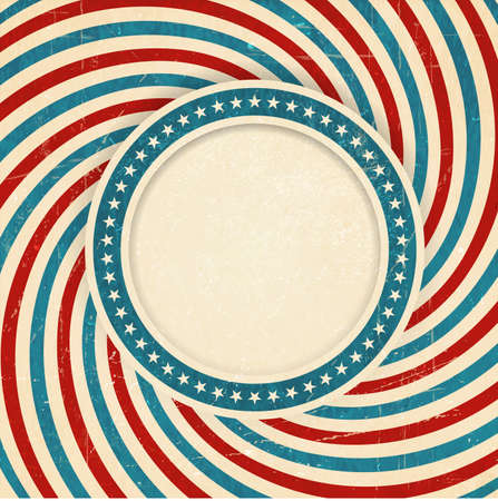 star spangled: Vintage style aged USA themed grunge design with spiraling blue, red and off white rays and center label with a ring of white stars on blue background and space for your text  Illustration