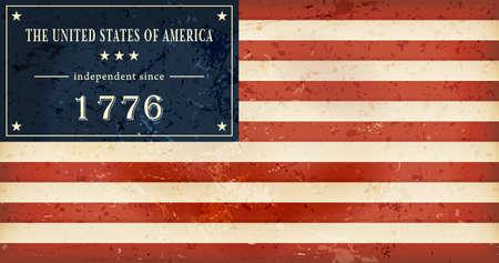worn sign: Fondo del d�a de Independence en qu� lugar del bandera de la EE.UU. el campo de estrellas se sustituye por el tenor literal Los Estados Unidos de Am�rica del independiente desde 1.776 mil