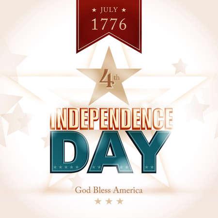 profundidad: Modern poster D�a de la Independencia con efectos de luz y las sombras de la profundidad y de la redacci�n: 07 1776 cuarto, d�a de la independencia, God Bless America.